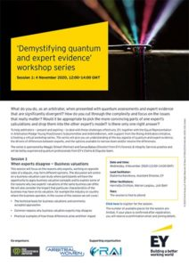 Demystifying Quantum and Expert Evidence – Session 1: When Experts disagree – business valuations
